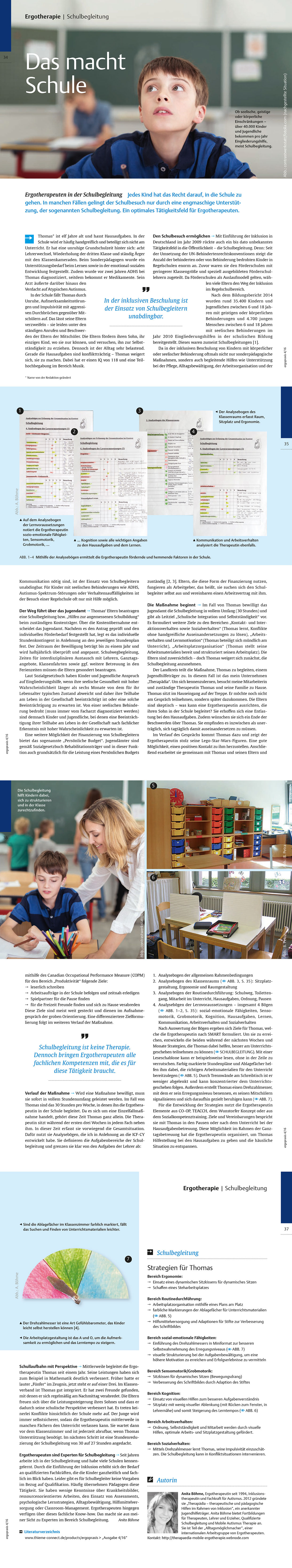 Publikation in der Ergopraxis zum Thema Schulbegleitung